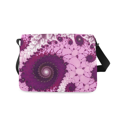 Pink Petals Glass Flower Spiral Messenger Bag (Model 1628)
