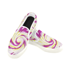 Pink Yellow Tie Dye Swirl Abstract Women's Unusual Slip-on Canvas Shoes (Model 019)
