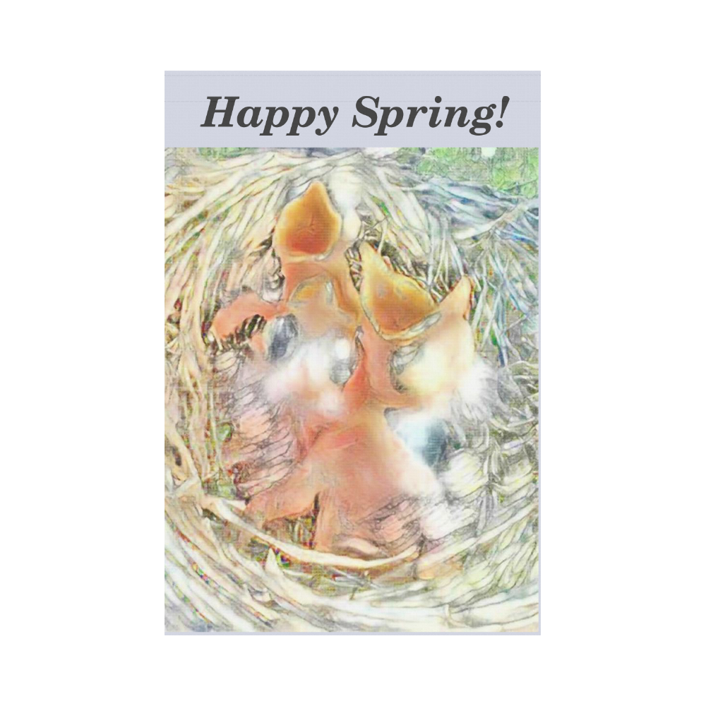 Happy Spring Baby Robins Garden Flag 12''x18''(Without Flagpole)