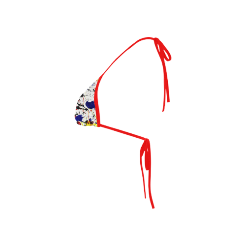 Blue & Red Paint Splatter (Red Straps) Custom Bikini Swimsuit Top