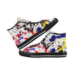 Blue & Red Paint Splatter - Black Vancouver H Men's Canvas Shoes (1013-1)