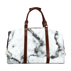 True White Marble - black white gray marble pattern Classic Travel Bag (Model 1643) Remake