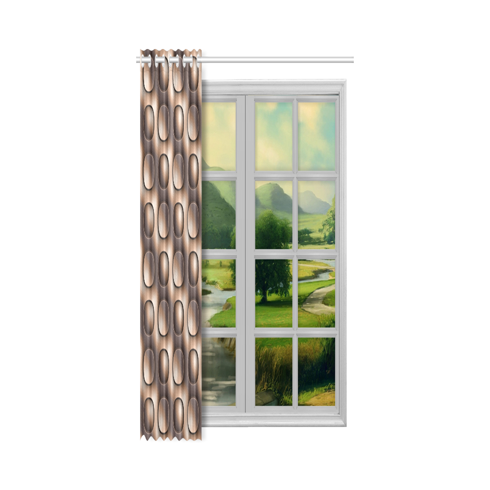 """Brown glossy toned buttons New Window Curtain 50"""" x 96""""(One Piece)"""