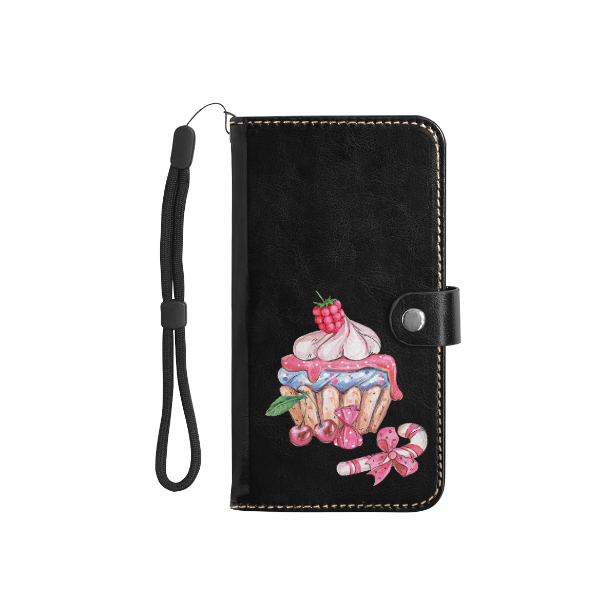 cupcake Flip Leather Purse for Mobile Phone/Small (Model 1704)