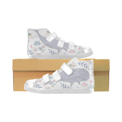 whale Velcro High Top Canvas Kid's Shoes (Model 015)