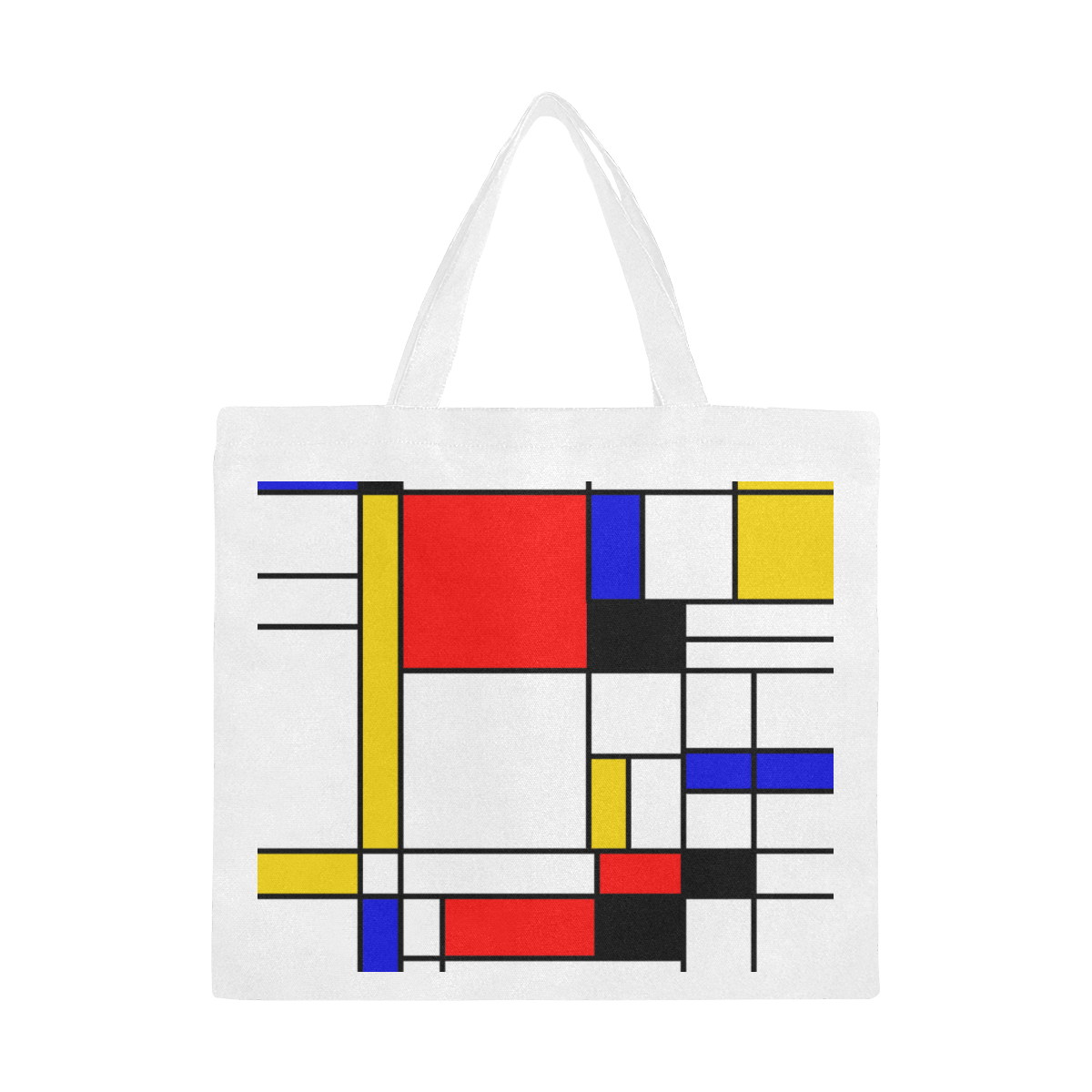 Bauhouse Composition Mondrian Style Canvas Tote Bag/Large (Model 1702)