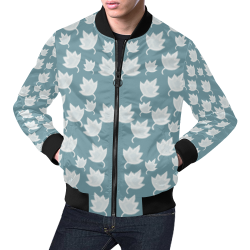 leaves on color ornate All Over Print Bomber Jacket for Men (Model H19)