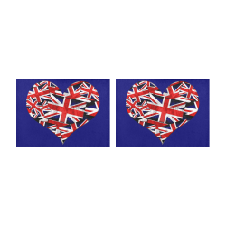 Union Jack British UK Flag Heart Blue Placemat 14'' x 19'' (Two Pieces)