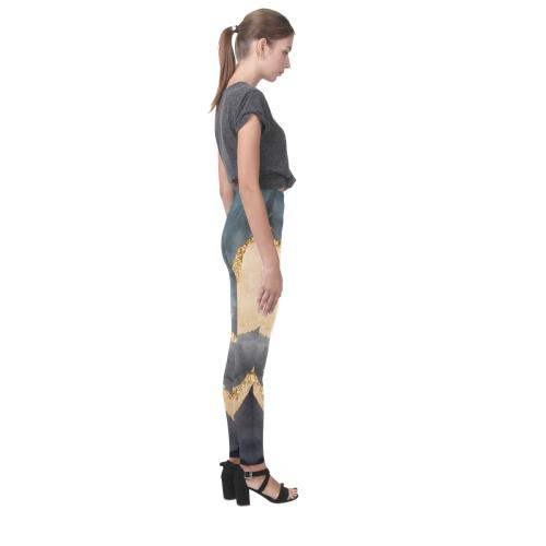 black and gold Cassandra Women's Leggings (Model L01)