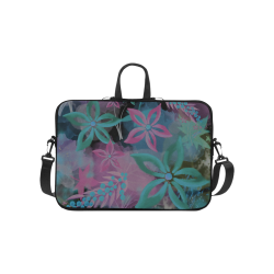 Flower Pattern - black, teal green, purple, pink Laptop Handbags 10""