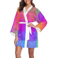 Triangle Rainbow Abstract Long Sleeve Kimono Robe