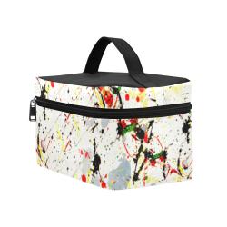 Yellow & Black Paint Splatter Cosmetic Bag/Large (Model 1658)