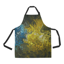 Alien Swirl Yellow Blue Apron. All Over Print Apron