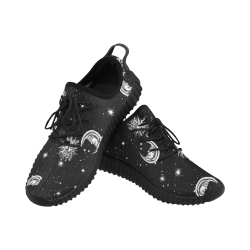 Mystic Stars, Moon and Sun (Black Laces) Grus Women's Breathable Woven Running Shoes (Model 022)