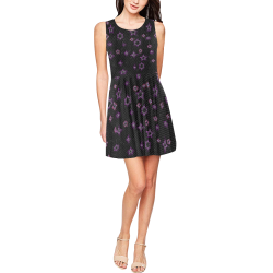 Mosaic night sky skaters dress Thea Sleeveless Skater Dress(Model D19)