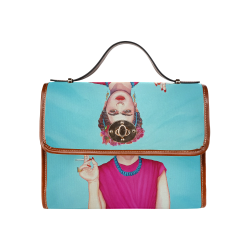 FRIDA IN THE PINK Waterproof Canvas Bag/All Over Print (Model 1641)