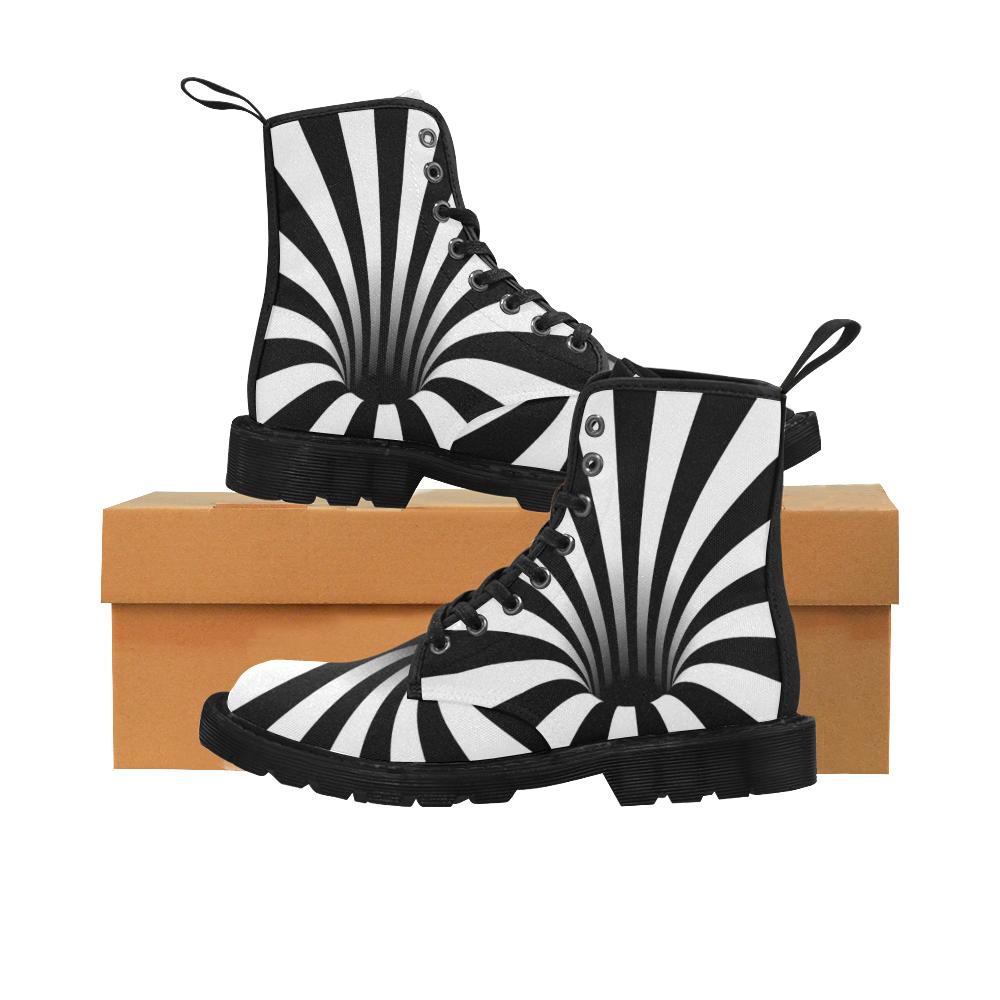 Optical Illusion Black Hole Stripes (Black/White) Martin Boots for Men (Black) (Model 1203H)