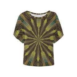 GREEN SEEN Women's Batwing-Sleeved Blouse T shirt (Model T44)
