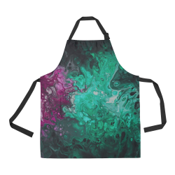 Alien Swirl Green Purple Apron. All Over Print Apron