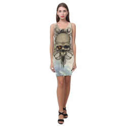Creepy skull, vintage background Medea Vest Dress (Model D06)