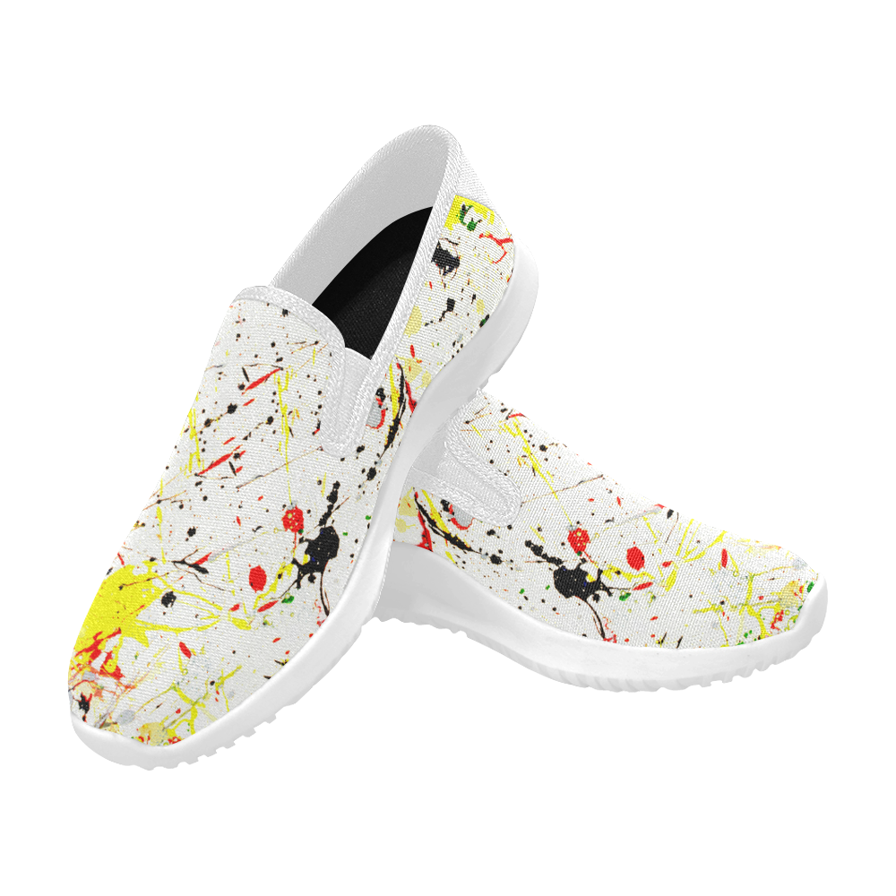 Yellow & Black Paint Splatter (White) Orion Slip-on Men's Canvas Sneakers (Model 042)