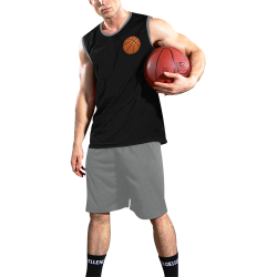 Basketball Sports Black and Gray All Over Print Basketball Uniform