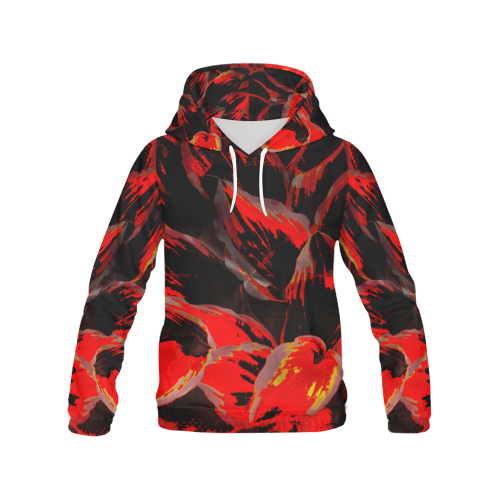 Wild Red Black Deep Wear Crew All Over Print Hoodie (for Women)