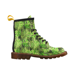 Tropical Jungle Leaves Camouflage High Grade PU Leather Martin Boots For Women Model 402H