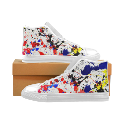 Blue & Red Paint Splatter  - White Men's Classic High Top Canvas Shoes (Model 017)