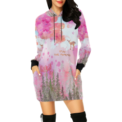Little Deer in the Magic Pink Forest All Over Print Hoodie Mini Dress (Model H27)