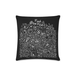 """Picture Search Riddle - Find The Fish 2 Custom Zippered Pillow Case 16""""x16""""(Twin Sides)"""