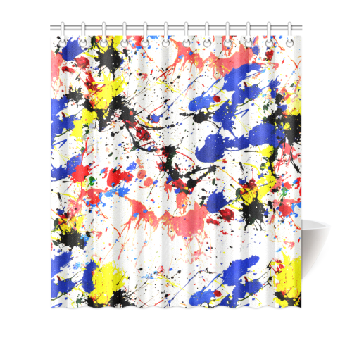 "Blue and Red Paint Splatter Shower Curtain 66""x72"""