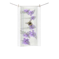 """Bumblebee, purple, violet floral watercolor Custom Towel 16""""x28"""""""