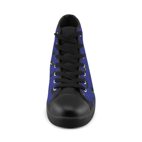 Alien Flying Saucers Stars Pattern On Blue High Top Canvas Women's Shoes/Large Size (Model 002)