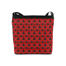 Las Vegas Black and Red Casino Poker Card Shapes on Red Crossbody Bags (Model 1613)