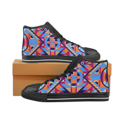 Modern Geometric Pattern High Top Canvas Shoes for Kid (Model 017)