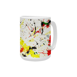 Yellow & Black Paint Splatter Custom Ceramic Mug (15OZ)
