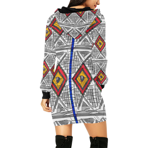 Mixed Center3 All Over Print Hoodie Mini Dress (Model H27)