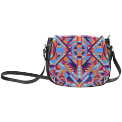 Modern Geometric Pattern Classic Saddle Bag/Large (Model 1648)