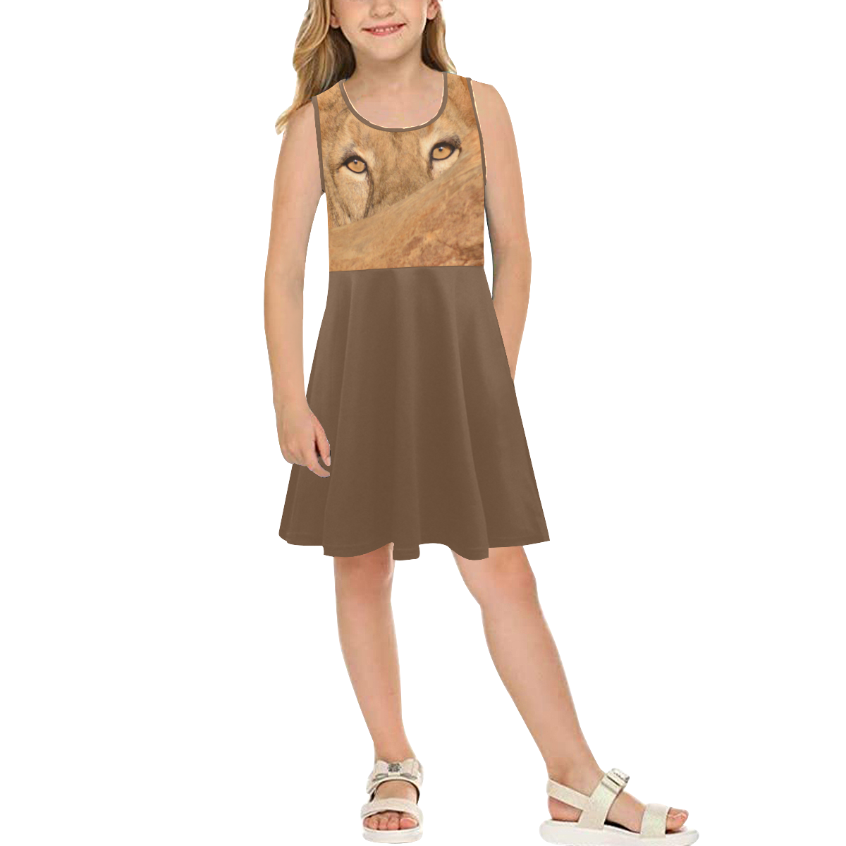 LION GIRL SUNDRESS Girls' Sleeveless Sundress (Model D56)