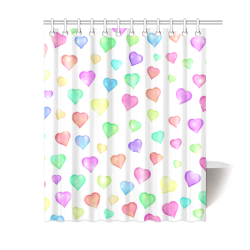 "Pastel Hearts Shower Curtain 60""x72"""