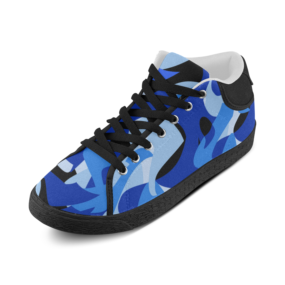 Camouflage Abstract Blue and Black Women's Chukka Canvas Shoes (Model 003)