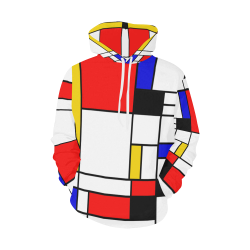 Bauhouse Composition Mondrian Style All Over Print Hoodie for Women (USA Size) (Model H13)