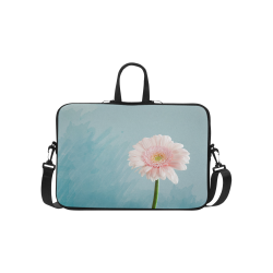 """Gerbera Daisy - Pink Flower on Watercolor Blue Classic Sleeve for 15.6"""" MacBook Air"""