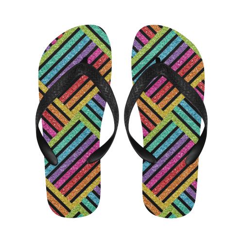 glitter rainbow Flip Flops for Men/Women (Model 040)