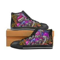 Ocean Psychedelic Magic Mushrooms Shoes Men's Classic High Top Canvas Shoes (Model 017)