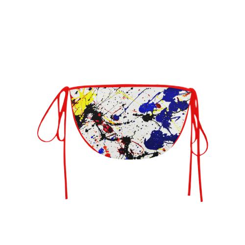 Blue & Red Paint Splatter (Red Straps) Custom Bikini Swimsuit Bottom