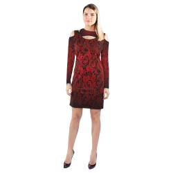 Gothic Red Shoulder Dress Cold Shoulder Long Sleeve Dress (Model D37)