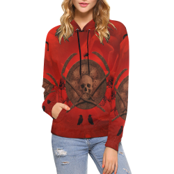 Skulls on red vintage background All Over Print Hoodie for Women (USA Size) (Model H13)