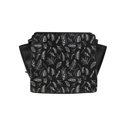 BLACK DANCING LEAVES Satchel Bag (Model 1635)